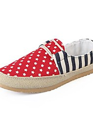 Men's Shoes Casual Canvas Loafers Black/Red