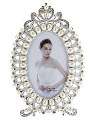 Eclipse Shaped Pearl Inlay Margin Alloy Photo Frame