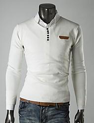 homens lesen v moda pescoço fino couro decoração padrão pullover malhas casuais o