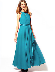 Ouli Frauen ärmellosen Chiffon Maxi Blue Dress 6072