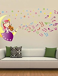 Createforlife® Cartoon Moon Girl Playing Guitar Kids Nursery Room Wall Sticker Wall Art Decals