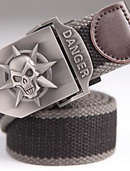 Men's Skull Heads Decoration Canvas Pin Buckle Casual Belt