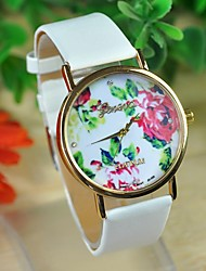 Timi Women's Flower Pattern Gold Case PU Watch -W1201