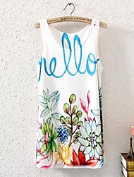 Women's Print Vest , Round Neck Sleeveless