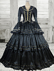 One-Piece/Dress Gothic Lolita Victorian Cosplay Lolita Dress Black Solid Long Sleeve Long Length Dress For Women Polyester