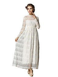 Women's Solid White Dress , Casual/Print/Lace/Cute/Party/Vintage/Maxi Crew Neck Long Sleeve