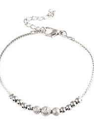 Lady's Dull Polish Beads Metallic Bracelet