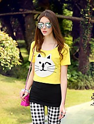 Women's Print Yellow T-shirt , Round Neck Short Sleeve