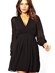 Women's V Neck Solid Color Chiffon Dress