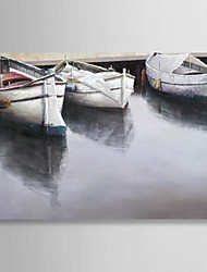 Hand Painted Oil Painting Landscape Docked the Boats in Port with Stretched Frame