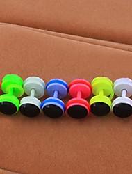 Lureme®316L Surgical Titanium Steel 7mm Dumbbell Stoving Varnish Single Stud Earrings (Random Color)