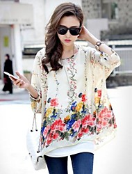 Women's Floral Shirt , Round Neck Short Sleeve