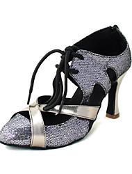 Customized Women's Sparkling Glitter Upper Latin Dance Shoes Sandals With Zipper
