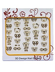 3D Cartoon Metal Nail Art Stickers Tatoo For Cute Baby Girl