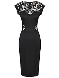 MingFan Women's Lace Sexy Cut Out Bodycon Midi Pencil Evening Dress