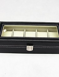 Fashion Black Leatherette Watch Box For 6 Pcs