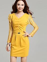 Elegante manga comprida V Neck Bodycon Vestido das perguntas e respostas Mulheres (Amarelo)