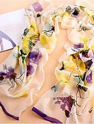 модные женские фиолетовые цветы напечатан мягкий и легкий старинных шифон шелковый шарф