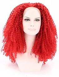 rendas frente peruca sintética onda de 16 polegadas de fibra de alta resistência à temperatura comprimento misto vermelho