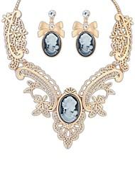 Déclaration européenne Noble Dame exquis de coupe-circuit des femmes Collier Boucles d'oreilles Suit (Black Gold) (1 jeu)