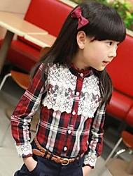 Girl's Fashion Leisure British Style Check Lace Shirt