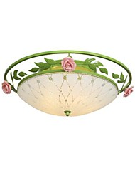 Flush Mount Light Glass Art Hierro Cerámica Roses Classic Rural Country Style