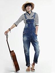 Herren Korean Style Loch Denim Jeans Overalls