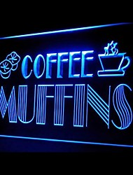 Coffee Muffins Cafe Food Green Blue Red White Orange Purple Yellow Advertising LED Light Sign