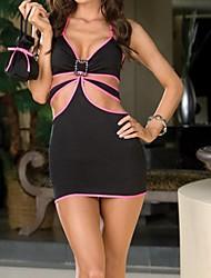 Frauen Sexy Hot Mesh-Transparent Schwarz Nachtwäsche Wäsche mit G String