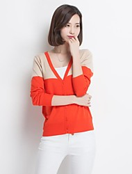 Women's V-neck Color Blocking Long Sleeve Knitwear Cardingans Sweater