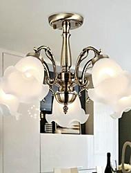 Montagem Embutida Cinco Luzes Metal Vidro Bronze Europeu simples moderno