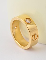 Fashion Gold/Silver/Rose CZ Diamonds Inlay Titanium Steel Rings