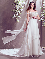 LAN TING BRIDE A-line Wedding Dress Sparkle & Shine Court Train Off-the-shoulder Chiffon with Beading