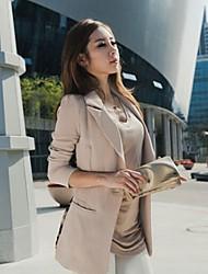 Women's Black/Beige Blazer , Sexy/Casual/Work Long Sleeve