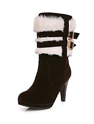 Women's Fall / Winter Fashion Boots Suede / Fur Casual Cone Heel Buckle / Fur Black / Brown