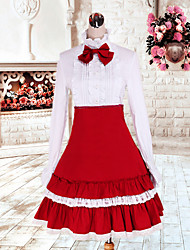 Long Sleeve White Blouse Knee-length Red Cotton Classic Skirt Classic Lolita Outfit