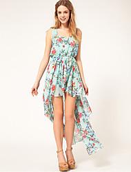 Queen & Co Doce Floral Imprimir Irregularidade Vestido de Verão Vestido