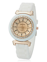 AONECE Moda cor sólida suave superfície cerâmica Silicone Watch-Branco