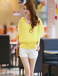 Women's Solid Pink/White/Yellow/Purple Blouse , Round Neck Short Sleeve Bow