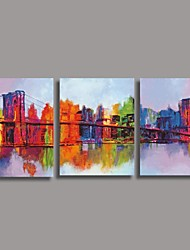 Hand Painted  Oil Painting Modern Abstract with Stretched Frame Set of 3