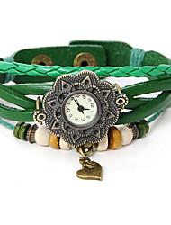 Dare U Women Vintage Leather Heart Pattern Bracelet Watch