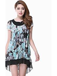 Women's Blue/Orange Dress , Sexy/Bodycon/Casual/Print/Party/Plus Sizes Short Sleeve