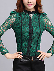 WLLE Fashion Lace Embroidery Long Sleeve Round Contrast Color Shirts