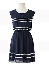 Women's Casual/Daily A Line Dress,Striped Round Neck Above Knee Sleeveless Blue Spring / Summer / Fall