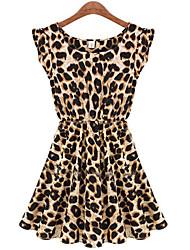 h&Rundhals ärmellose Hülle Leopard Kleid z Frauen