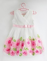 Girl's Cotton Blend/Mesh Dress , Summer Sleeveless