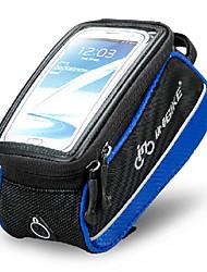inbike 4,8 polegadas poliéster e saco da frente da bicicleta eva preto e azul com pvc tela transparente celular palpável
