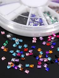 600pcs 12colours forme carrée strass ongles acryliques de roue de décoration d'art