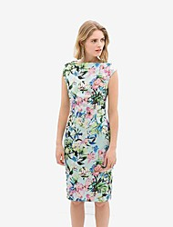 Women's Going out Sexy Dress,Floral Midi Sleeveless Multi-color Spring / Summer / Fall / Winter