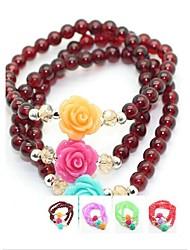 Coway 108 4MM Garnet Fashion Lady Rose Bracelets(Random Color)